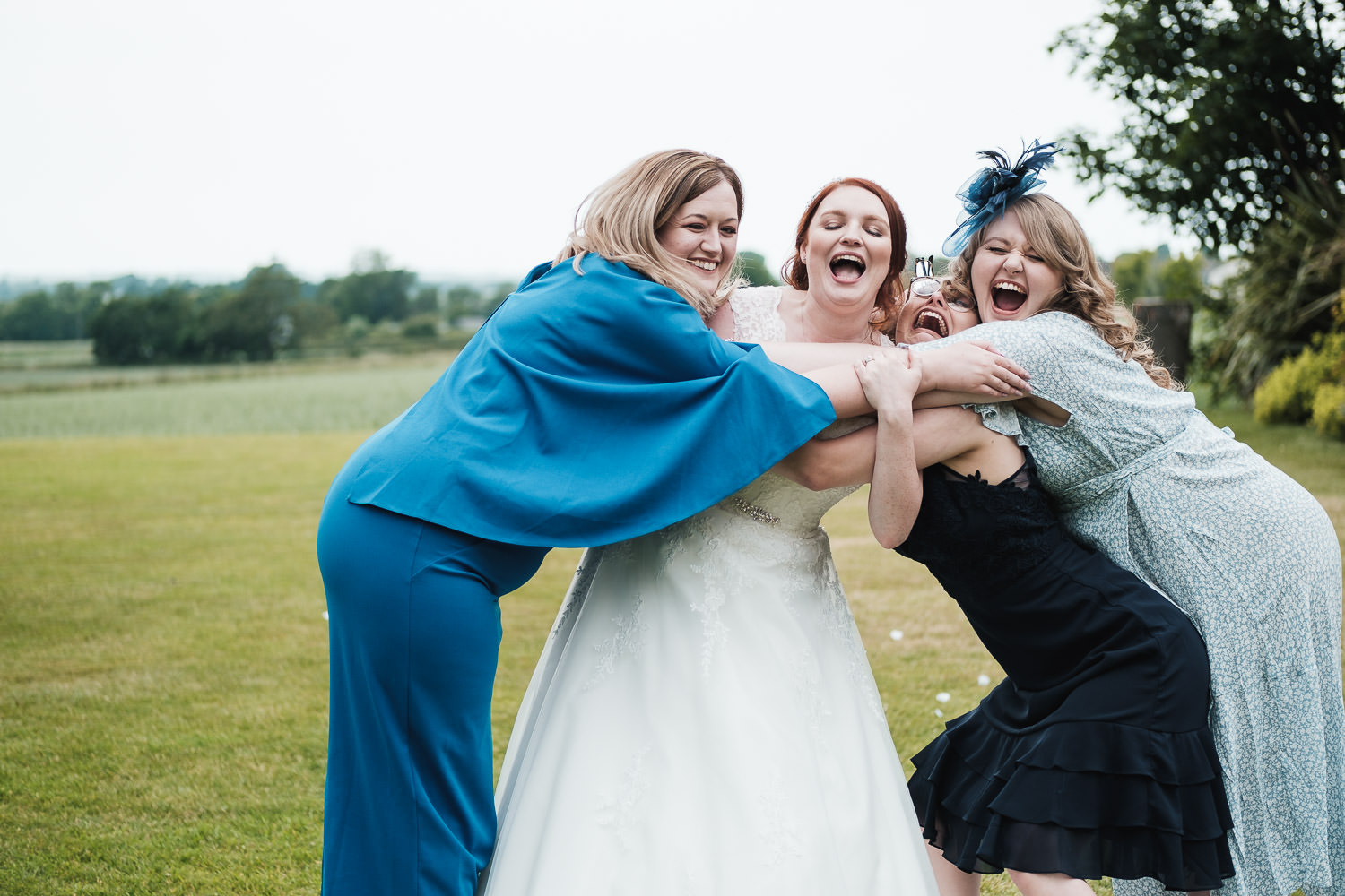 The happy bride gets super excited to spend time with her friends