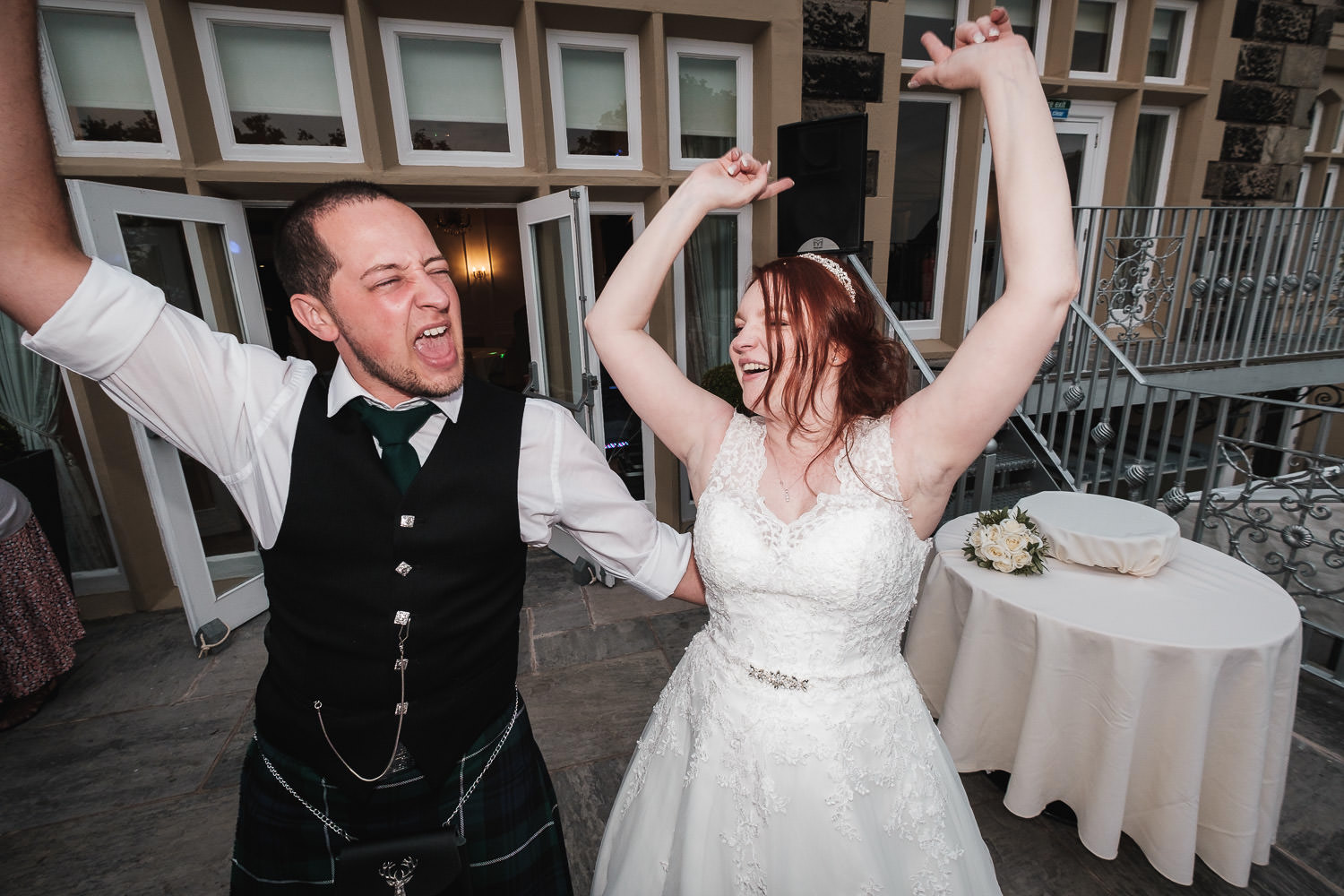 West Tower bride and groom dance at their wedding reception