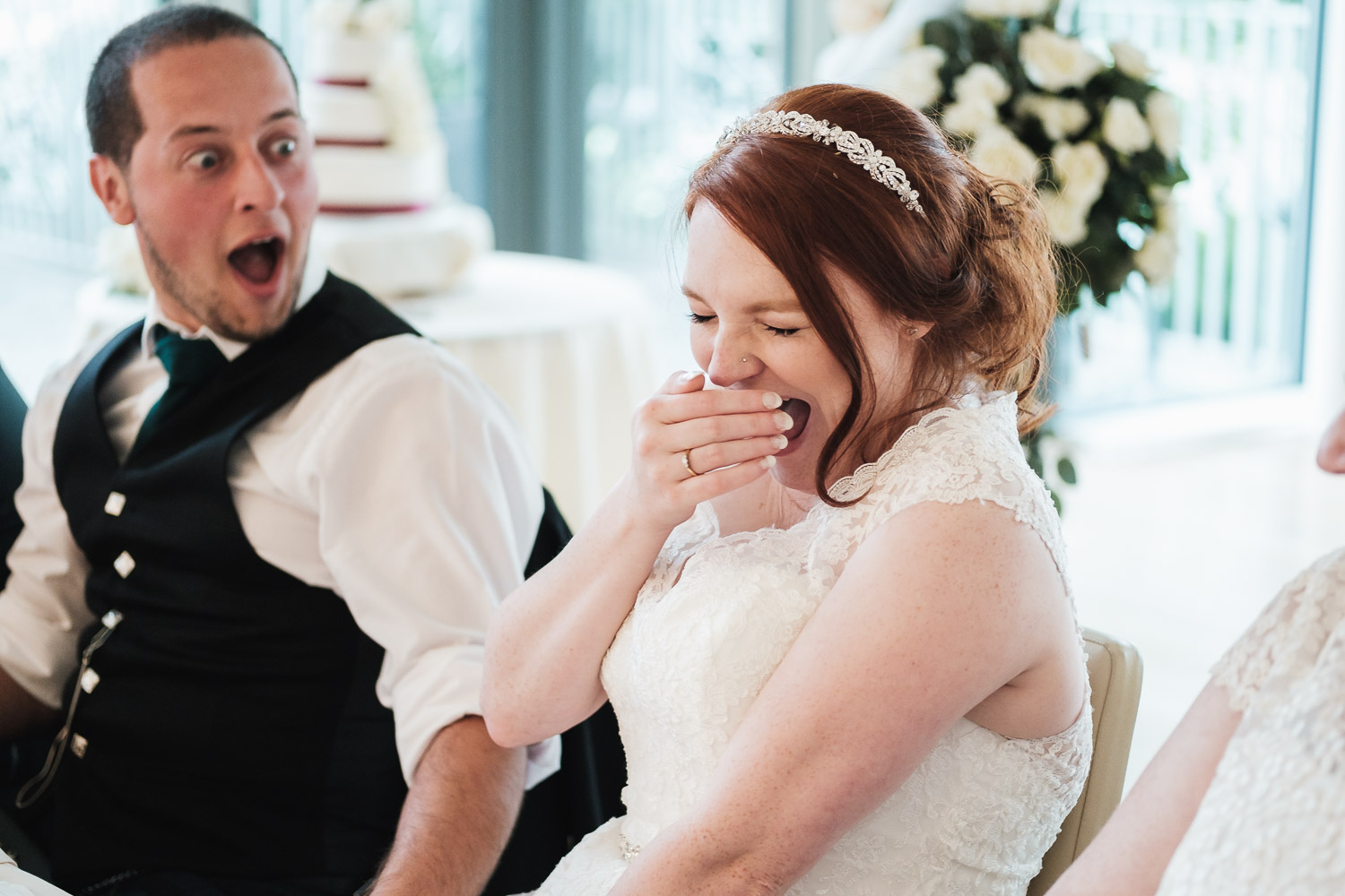 groom and bride are shocked at speaches