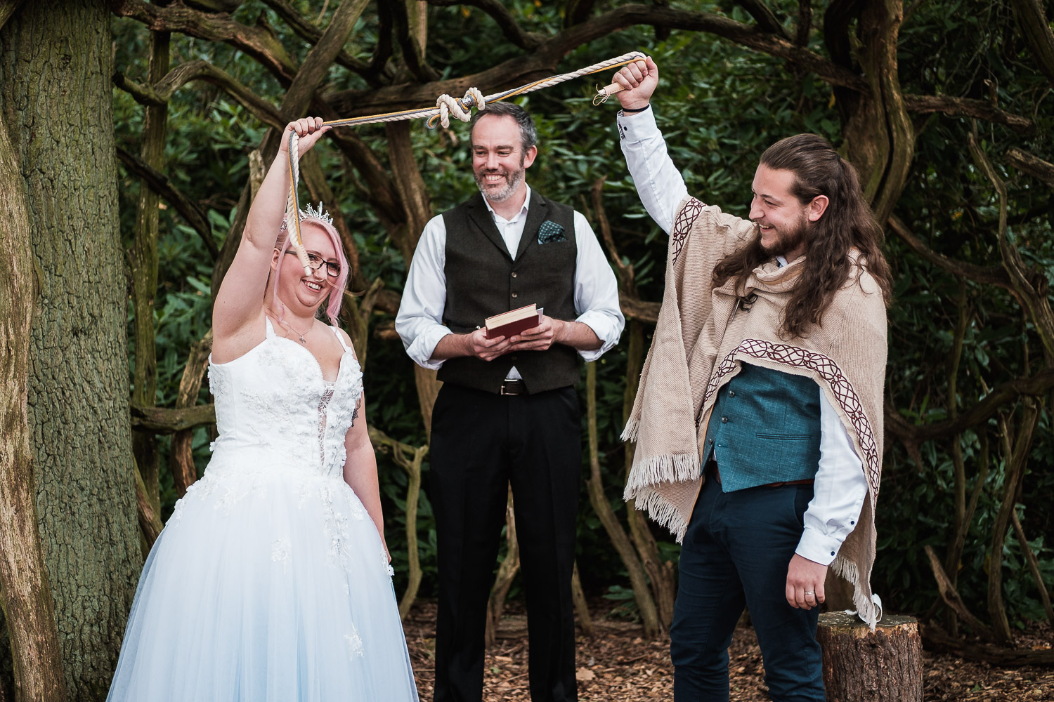 Amber and Jake tie the knot outdoors in a woodland ceremony at their Escrick Park Estate wedding