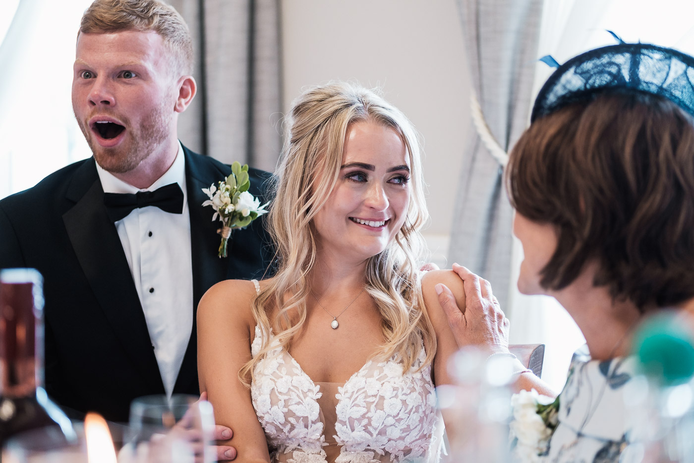 Bride cries at the speeches at the old palace in chester