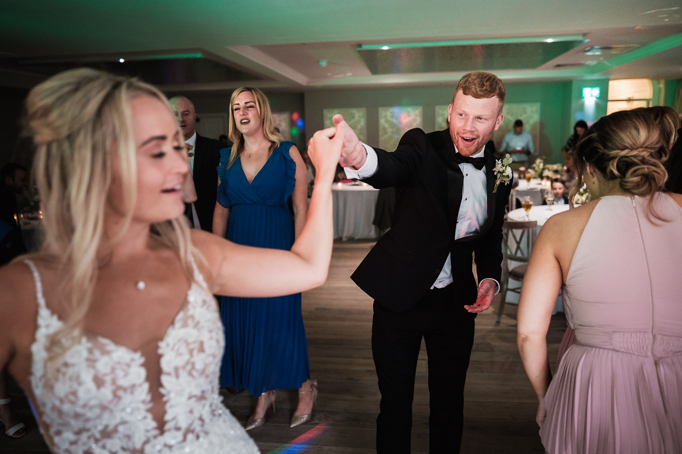 bride and groom party on the dance floor at their old palace chester wedding reception