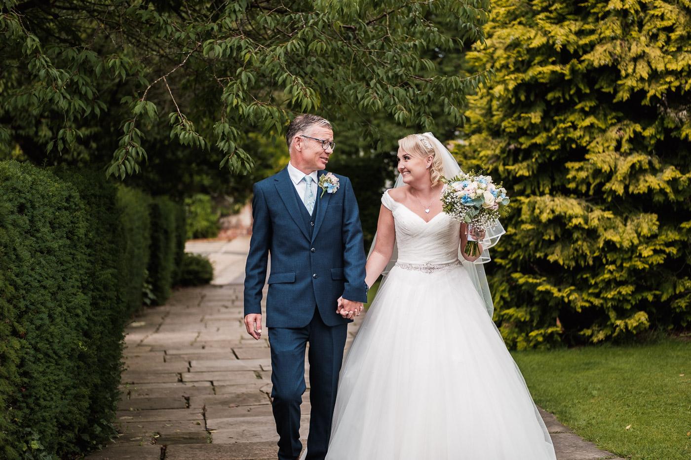 happy bride and groom at Walton hall